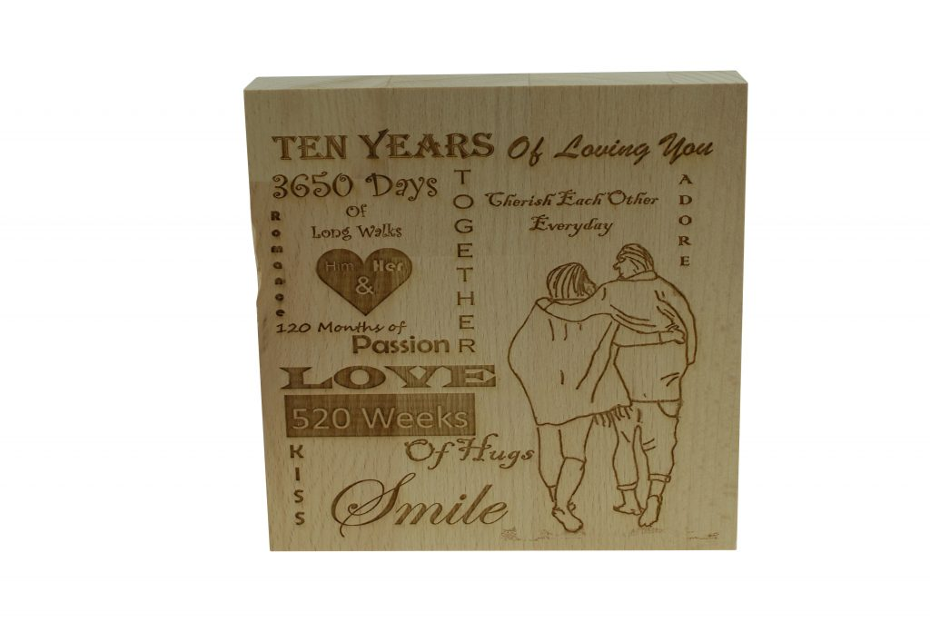 10 years of loving you wooden block tin gifts